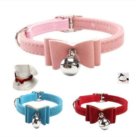 Cute Flocking Dog Cat Bell Collar Kitten Bow Tie Pet Neck Safety Bowtie , Adjustable Pet Necklace, Pet Collar