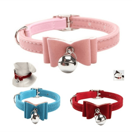 Cute Flocking Dog Cat Bell Collar Kitten Bow Tie Pet Neck Safety Bowtie , Adjustable Pet Necklace, Pet Collar ()