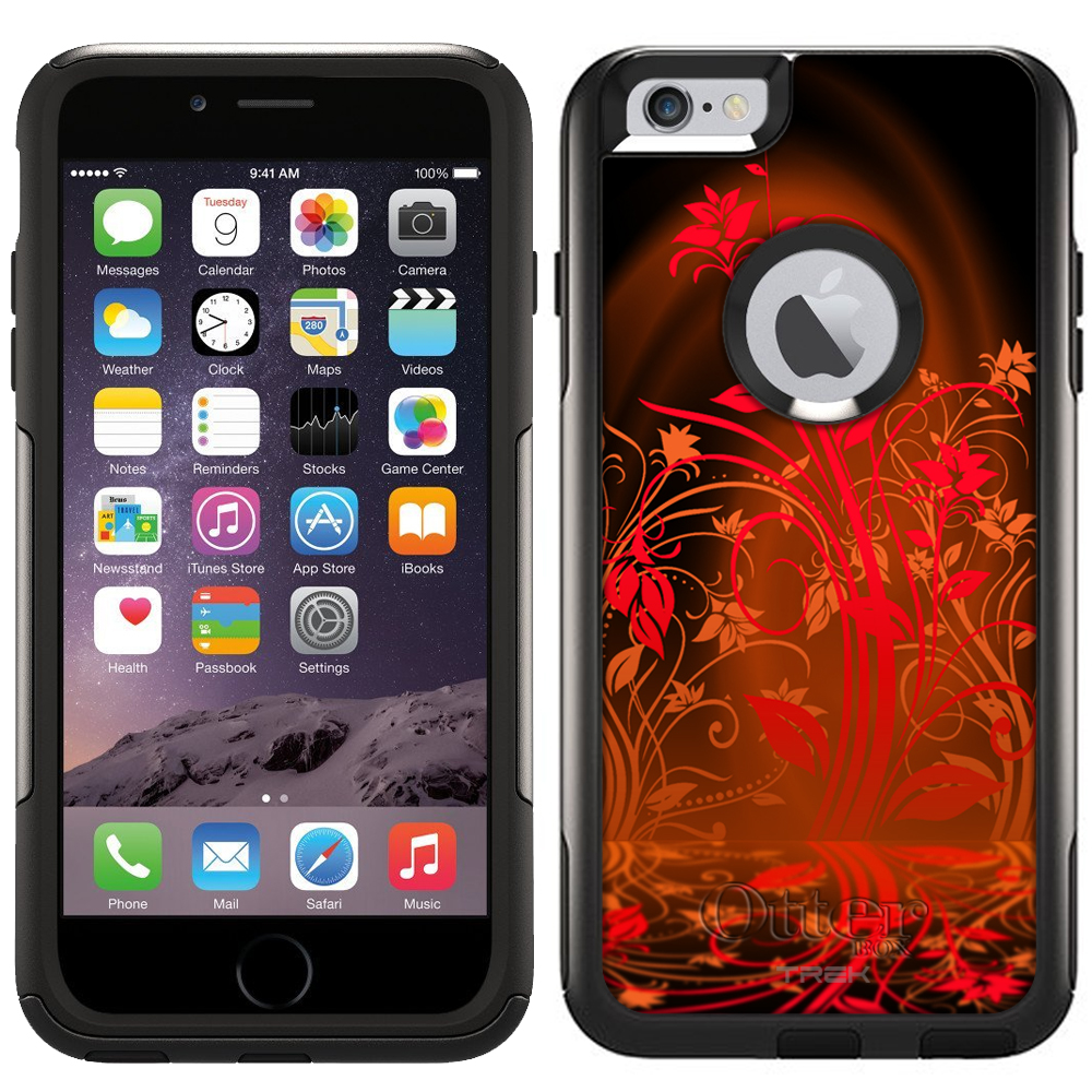 Otterbox Commuter Case for Apple iPhone 6 Plus - Red Plant Beautiful Shadows on Black
