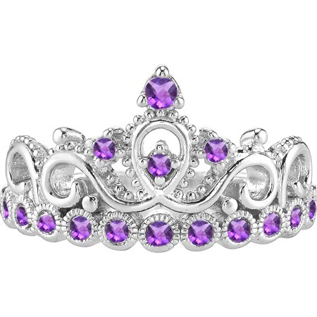 14K White Gold Amethyst Crown Ring (February) (7)