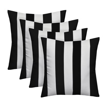 "Set of 4 - Indoor / Outdoor Square Decorative Throw / Toss Pillows - Black and White Stripe Fabric - Choose Size (17"" x 17"")"