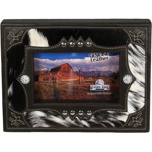 "Rivers Edge Products 4"" x 6"" Cowboy Cowhide Picture Frame"