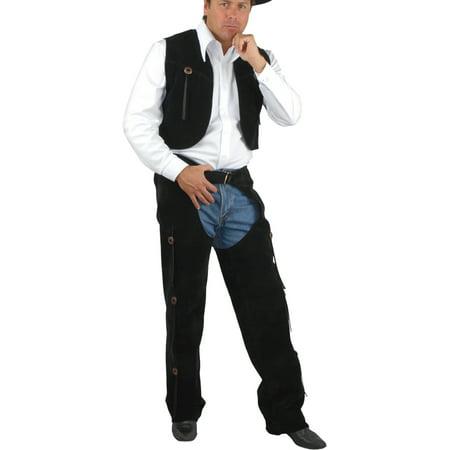 Men's Range Rider Cowboy Costume Black Faux Suede Chaps and - Vest Cowboy