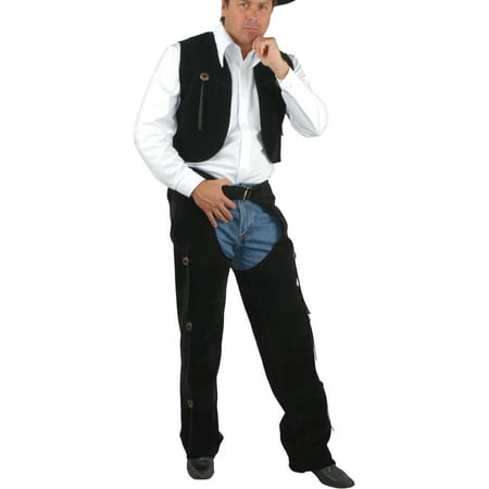 Equestrian Rider Costume (Men's Range Rider Cowboy Costume Black Faux Suede Chaps and)
