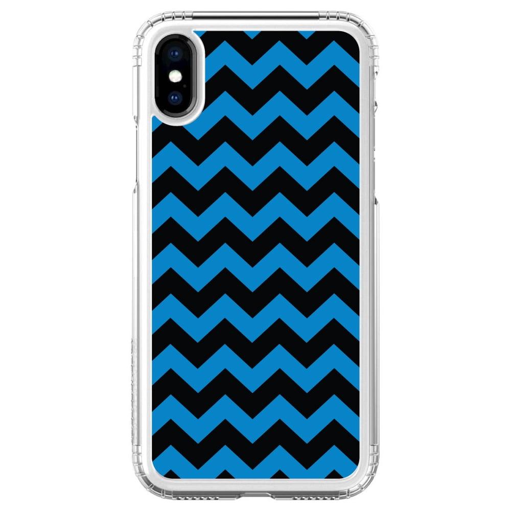 "SaharaCase iPhone X / XS (5.8"" Screen) Clear Shockproof Custom Case By DistinctInk - Protective Kit & ZeroDamage Screen Protector - Black Blue Chevron Stripes"