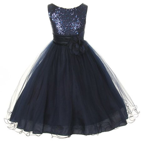 Little Girls Navy Sequin Bodice Floral Overlaid Flower Girl Dress 2