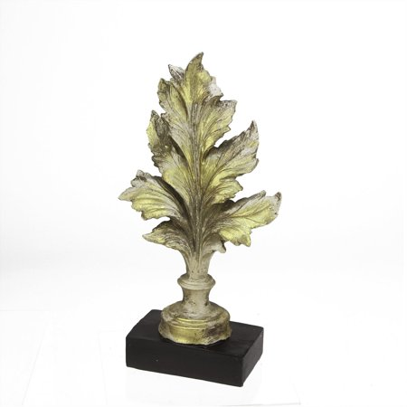 """Image of 10"""" Rich Elegance Distressed Gold Leaf Finial with Black Base Christmas Decoration"""