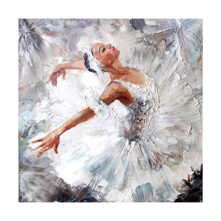 (Oil Painting, Girl Ballerina. Drawn Cute Ballerina Dancing Art Print - 12x12)
