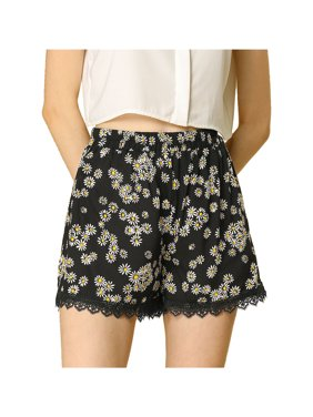 Women's Printed Lace Trim Elastic Waist Shorts