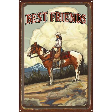 Best Friends Rustic Metal Art Print by Paul A Lanquist 12 x 18