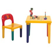 Lovely Kids Picnic Table and Chairs, Toddler Activity Chair with Tables and Chairs Sets for Little Kids, Sturdy Picnicen Children Furniture for Toddlers Play Lego, Reading, Art Play-Room, S9207