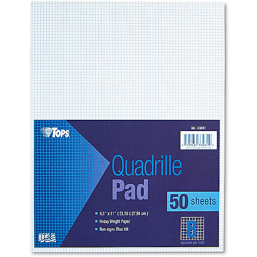 "TOPS Quadrille Pad, 8"" Squares, 8-1/2 x 11, White, 50 Sheets"