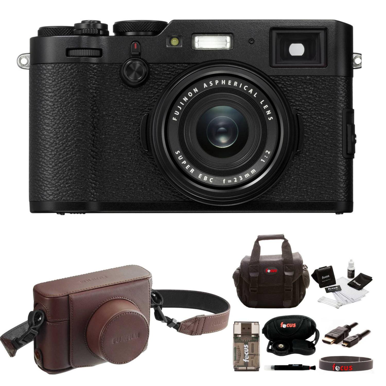 Fujifilm X100F Digital Camera (Black) with Leather Case and Accessories Bundle