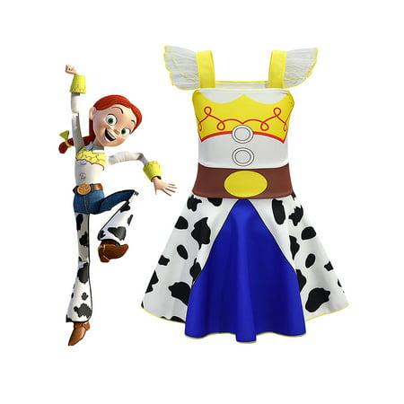 Kids Girls Holloween Cosplay Toy Story 4 Jessie Costume Outfit Fancy (Children's Shrek Fancy Dress Costume)