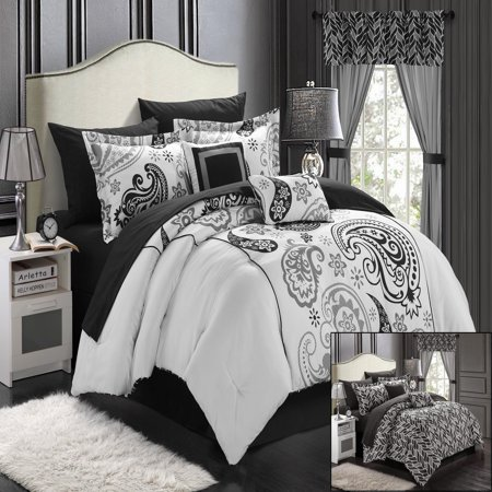 Olivia Paisley Print Black & White 20 Piece Mega Comforter Bed In A Bag Set