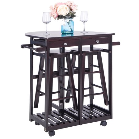 Kitchen Island with Drop Leaf Table, Folding kitchen Island Cart with Bar Stools, Rolling kitchen Trolley Cart Set with 2 Storge Drawers and 2 Stools, Space Saving Wood Kitchen Breakfast Cart, I9867 ()