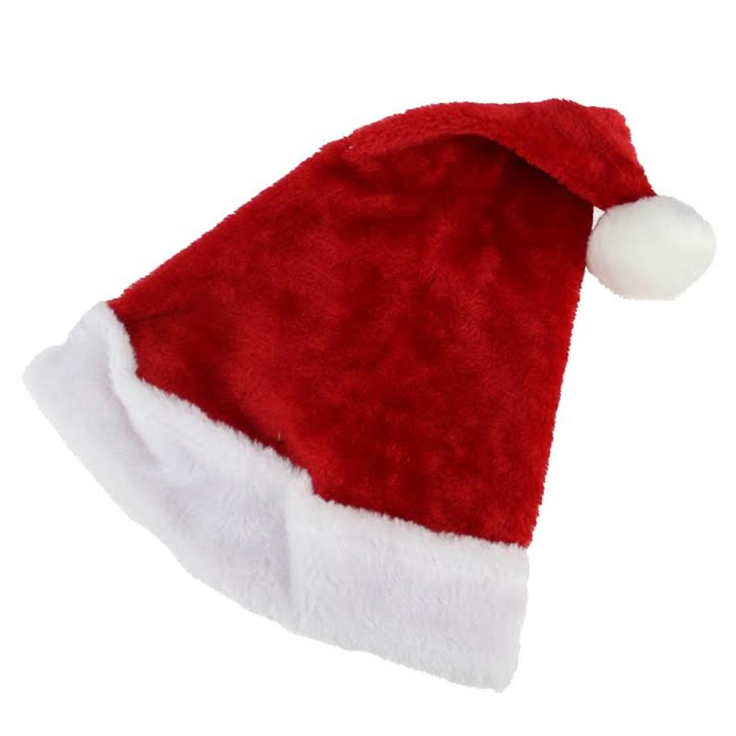 """17"""" Traditional Red and White Plush Christmas Santa Hat - Adult Size Medium"""