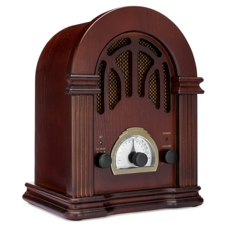 ClearClick Retro AM/FM Radio with Bluetooth - Classic Wooden Vintage Retro Style (Cathedral Style Radio)