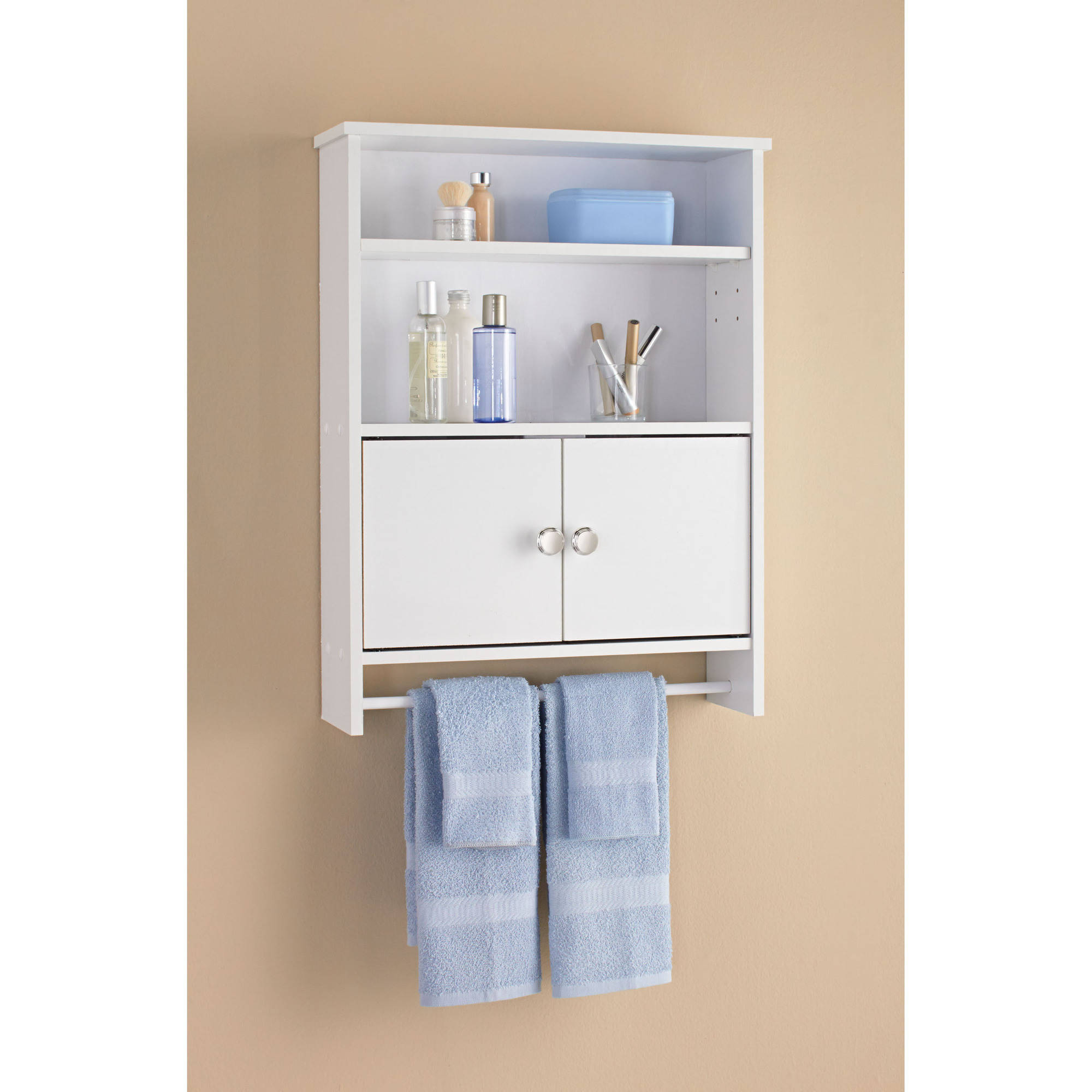 Mainstays 2 Door Wood Wall Cabinet, White