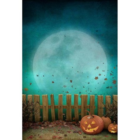 GreenDecor Polyster Vintage Halloween Moon Photo Backdrop for Kids Blue Sky Pumpkins Lantern around Wooden Fence Fall Leaves Children Photography Studio Background - Halloween Photo Backdrops