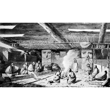 Nootka Dwelling 1778 Nnootka Native Americans Roasting Fish Over An Open Fire Inside A Multifamily Dwelling At Nootka Sound On The Pacific Coast Of Vancouver Island British Columbia Canada The Carved