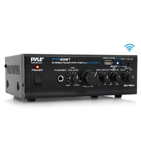 PYLE PTA22BT - Bluetooth Mini Blue Series Audio Amplifier - Compact Desktop Stereo Amplifier Receiver with USB Charge Port, Pager & Mixer Karaoke Mode, Mic Input (40 Watt x 2)