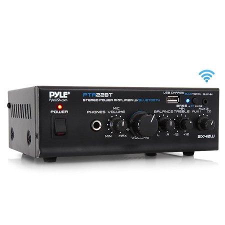 PYLE PTA22BT - Bluetooth Mini Blue Series Audio Amplifier - Compact Desktop Stereo Amplifier Receiver with USB Charge Port, Pager & Mixer Karaoke Mode, Mic Input (40 Watt x (Best Pyle Home Audios)