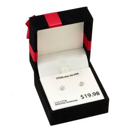 1/10 Carat T.W Diamond Miracle Plate Sterling Silver Stud Earring