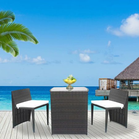 Akoyovwerve 3pcs Outdoor Wicker Patio Furniture Sets,Patio Dining Sets Rattan Chair Set Brown Gradient ()