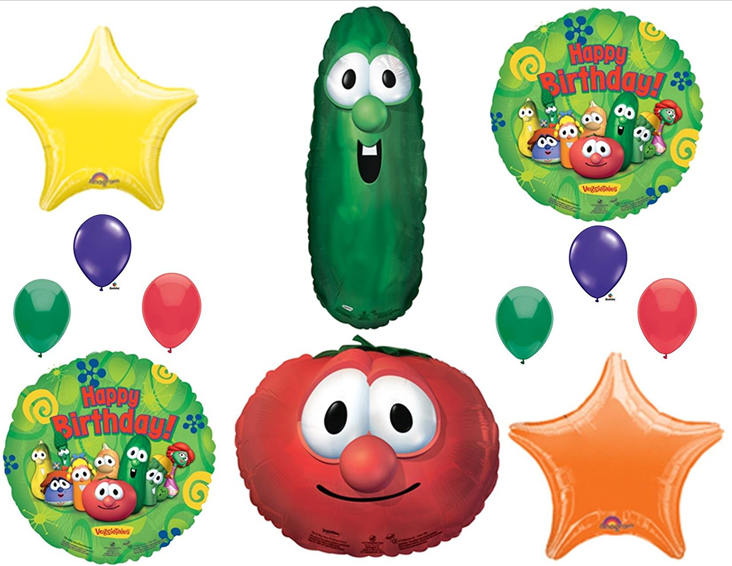 VEGGIE TALES LARRY CUCUMBER & BOB TOMATOE BIRTHDAY PARTY Balloons Decorations Supplies, Veggie Tales 12 Piece... by