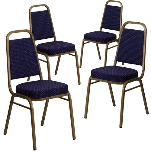 "Flash Furniture 4-Pack HERCULES Series Trapezoidal Back Stacking Banquet Chair with Vinyl and 2.5"" Thick Seat, Gold Frame, Multiple Colors"