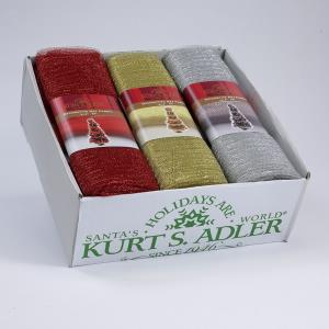 9X3.5' KNIT NET FABRIC ON CARD 3/ASSTD COLORS: RED, GOLD & SILVER.