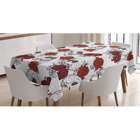 Skull Decorations Tablecloth, Retro Gothic Dead Skeleton Figures with Rose Halloween Spooky Trippy Romantic, Rectangular Table Cover for Dining Room Kitchen, 60 X 84 Inches, Grey, by Ambesonne