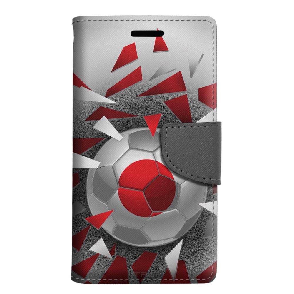 LG Escape 3 Wallet Case Soccer Ball Japan Flag Case by Trek Media Group