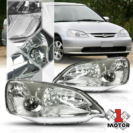 Chrome Housing Headlight Clear Corner Signal Reflector for 01-03 Honda Civic (Honda Civic Mugen Rr For Sale In Japan)