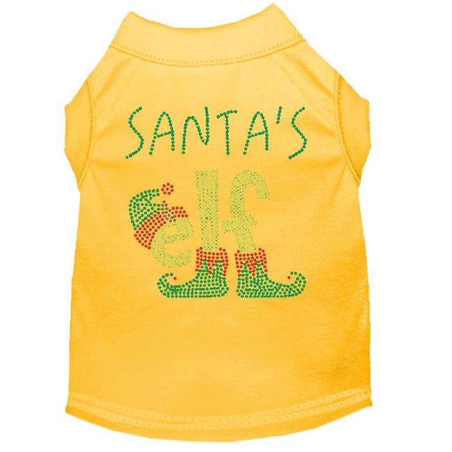 Santa's Elf Rhinestone Dog Shirt Yellow Lg (14) - image 1 of 1
