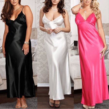 Womens Satin Lingerie Ladies Nightie Nightwear Night Dress Silk Chemise - Silk Christening Gowns