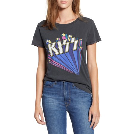 LUCKY BRAND Womens Gray Kiss Logo Graphic Short Sleeve Crew Neck T-Shirt Top  Size: L Casual Crew Neck Design