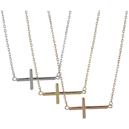 Journee Collection  Sterling Silver Sideways Holy Cross Necklace
