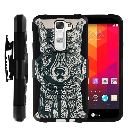 huge selection of aef83 7cf5d LG Treasure Case | LG K7 Case | LG Tribute 5 Case [ Armor Reloaded ] Rugged  Phone Case for LG K7 with Holster and Kickstand - Wolf Drawing