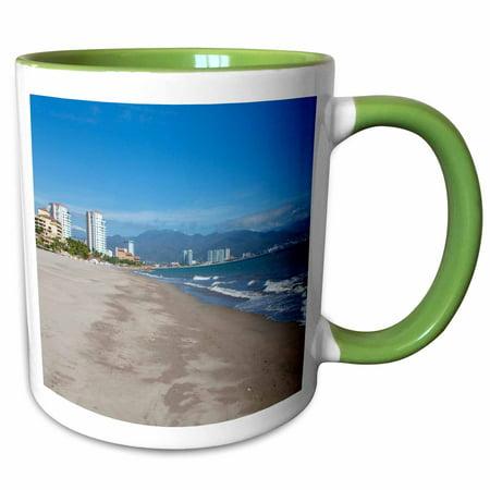3dRose Marina Vallarta, beach, Puerto Vallarta, Jalisco, Mexico - Two Tone Green Mug, (Best Month To Go To Puerto Vallarta)