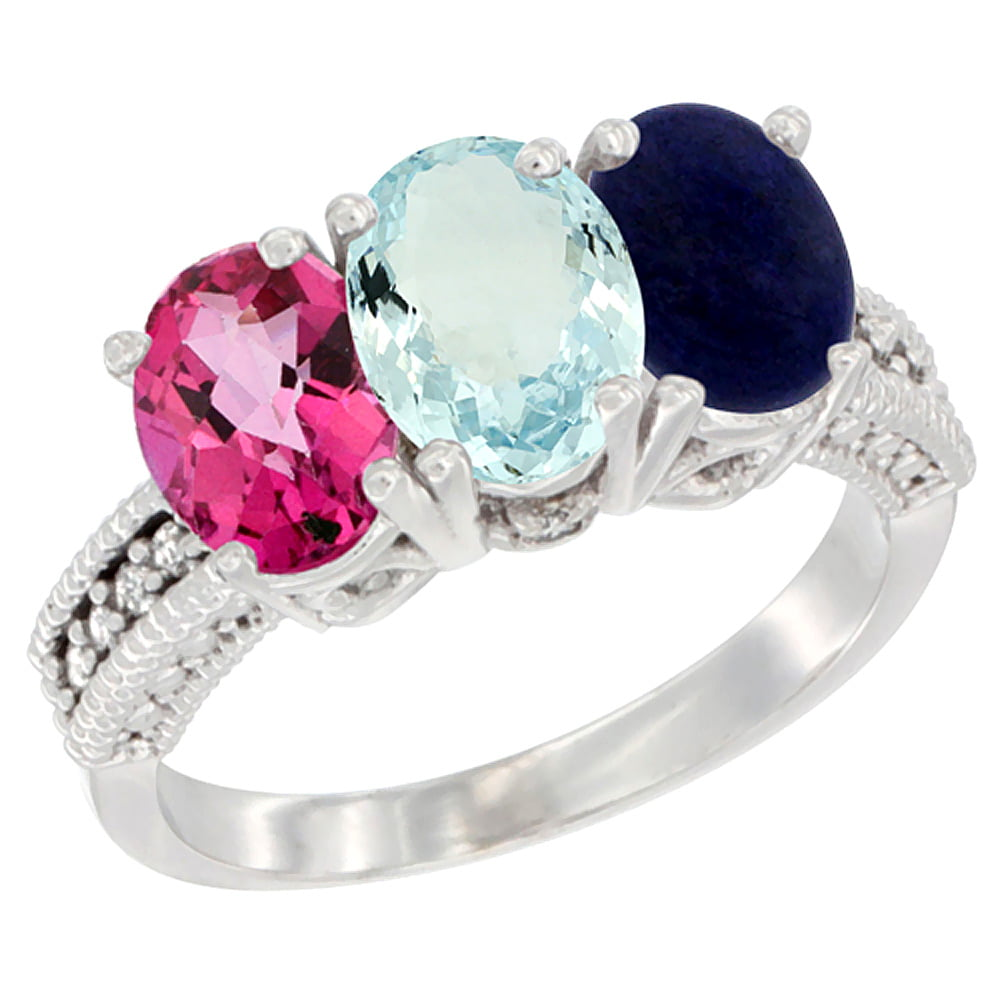 14K White Gold Natural Pink Topaz, Aquamarine & Lapis Ring 3-Stone 7x5 mm Oval Diamond Accent, sizes 5 10 by WorldJewels
