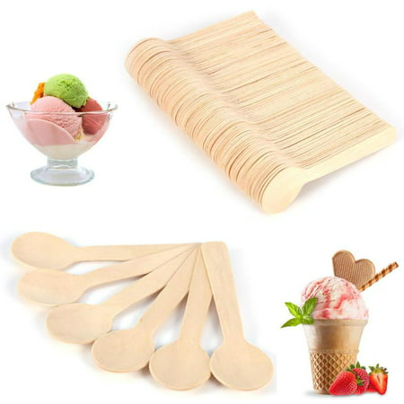 Colored Wood Spoons - WALFRONT 100pcs Wood Spoons Disposable wooden spoon set for kitchen, Mini Kitchen Ice Cream Dessert Tea Spoon 10cm Flatware Cutlery Bupplies Natural Wood Utensils 100%