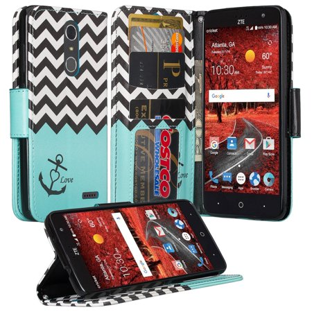 4 Wrist Blade - ZTE Grand X 4, ZTE Blade Spark Z971 Case, Wrist Strap Pu leather Magnetic Fold[Kickstand] Wallet Case with ID and Card Slots for Grand X4 - Teal Anchor