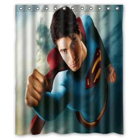 DEYOU Flying Superman Shower Curtain Polyester Fabric Bathroom Size 60x72 Inches