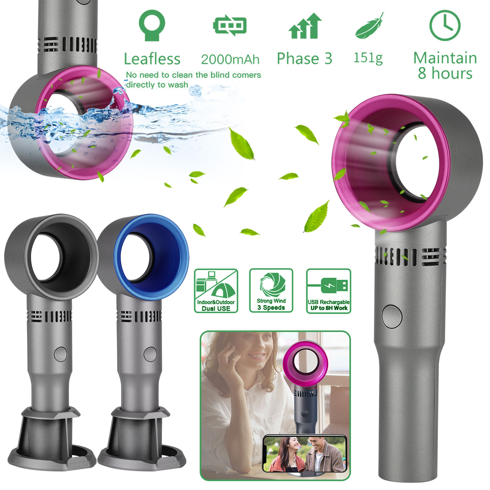 Bladeless Handheld Fan USB Rechargeable 3 Speeds Mini Cooler for Outdoor Travel
