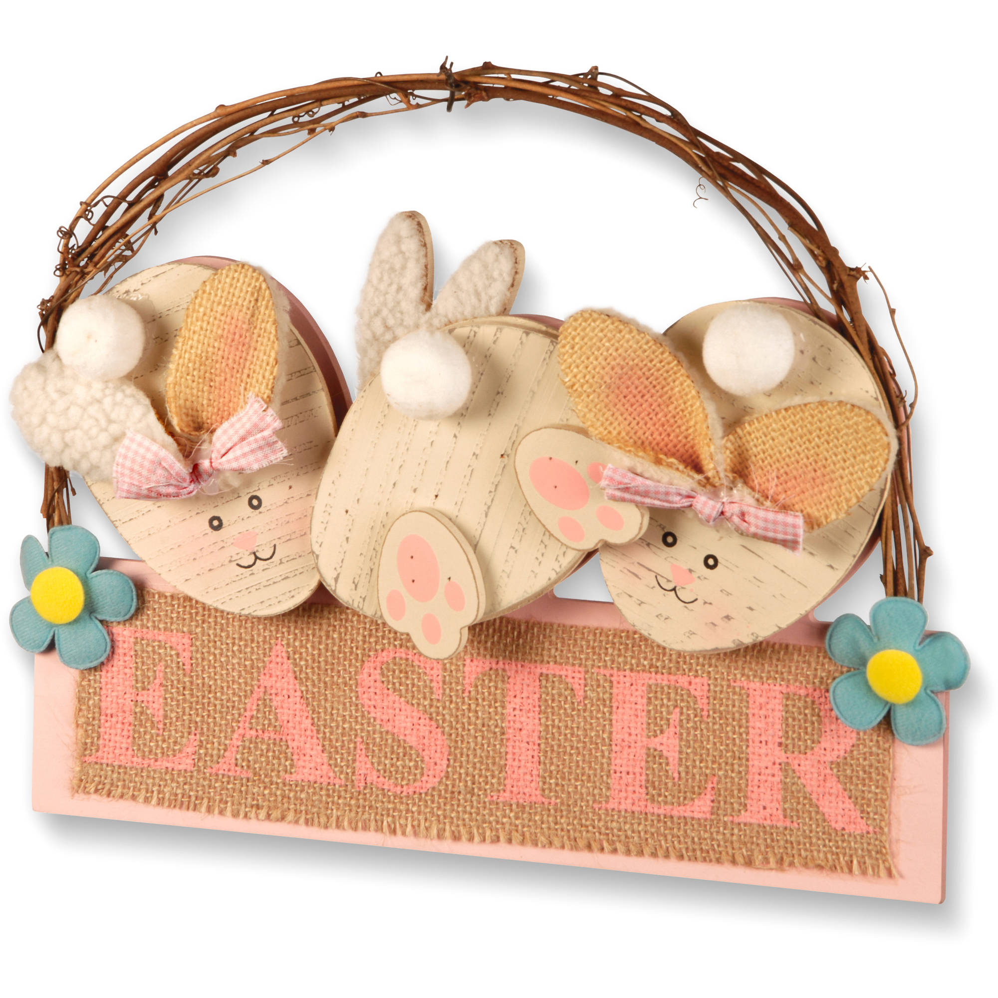 "12"" Easter Board with 3 Rabbits by National Tree"