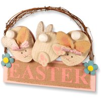 """National Tree Artificial 12"""" Easter Board with 3 Rabbits"""