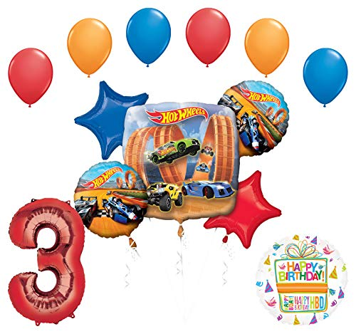 Mayflower Products Hot Wheels Party Supplies 3rd Birthday Balloon Bouquet Decorations - Hot Wheel Birthday Party