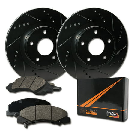 Max Brakes Rear Elite Brake Kit [ E-Coated Slotted Drilled Rotors + Ceramic Pads ] KT085382 | Fits: 2004 04 2005 05 2006 06 2007 07 Toyota Sequoia - image 8 of 8